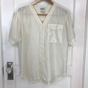 Vintage White Silk Button Down Blouse